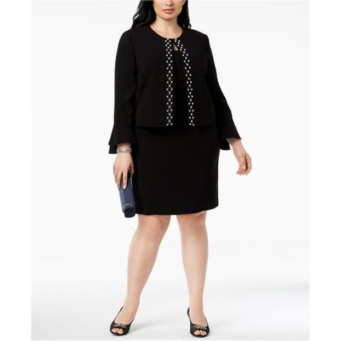 Tahari Womens Pearl Embellished Blazer Jacket, Black, 18W