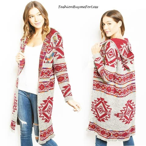 Western Rodeo Open Front Hooded Cotton Knit Maxi Sweater Cardigan Coat