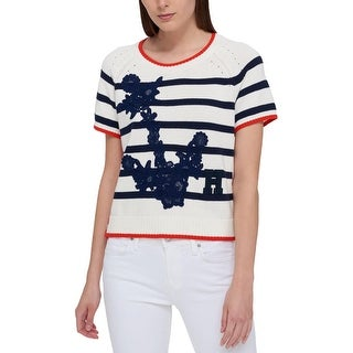 Tommy Hilfiger Womens Sweater Embroidered Short Sleeves