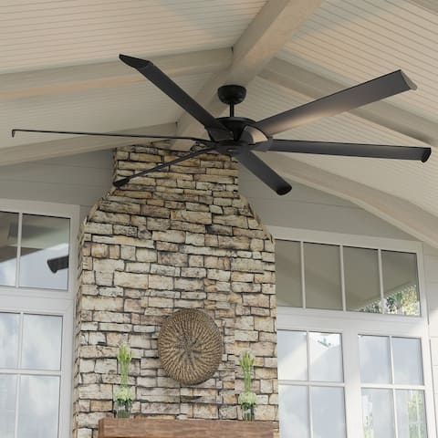 """Luxury Industrial Indoor / Outdoor Ceiling Fan, 15.5""""H x 96""""W, with Urban Loft Style, Midnight Black, UHP9131 by Urban Ambiance"""