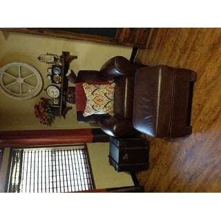 Shop Journey Vintage Tobacco Leather Trunk Side Table   Free Shipping Today    Overstock.com   7885773