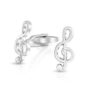Bling Jewelry Rhodium Plated Music Note Symbol G Clef Treble Clef Cufflinks