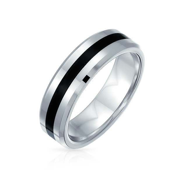 Black Silver Two Tone Stripe Wedding Band Titanium Ring For Men 6MM. Opens flyout.