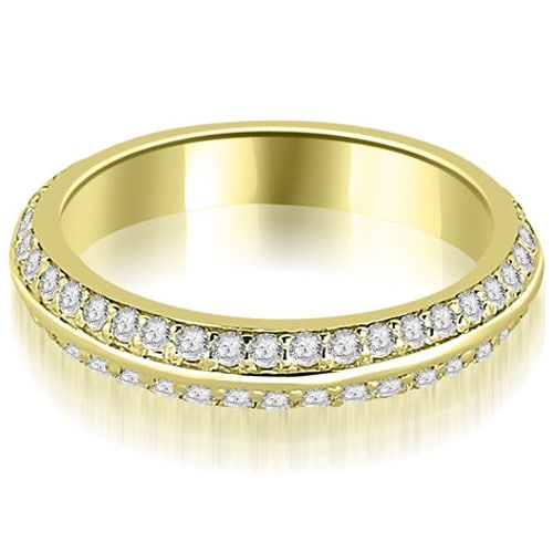 0.40 cttw. 14K Yellow Gold Knife Edge Round Cut Diamond Wedding Band