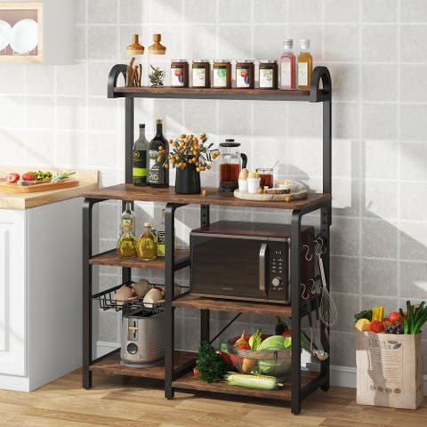5 Tier Microwave Oven Stand, Kitchen Cart Utility Storage Shelf