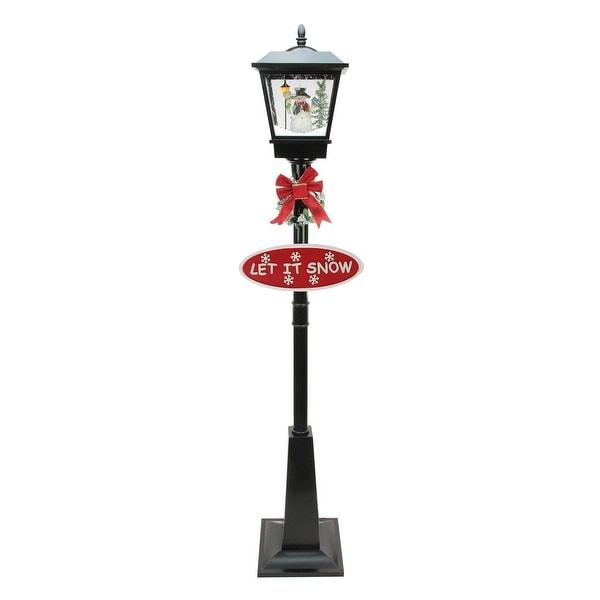 "70.75"" Black Lighted Musical Snowman Vertical Snowing Christmas Street Lamp"
