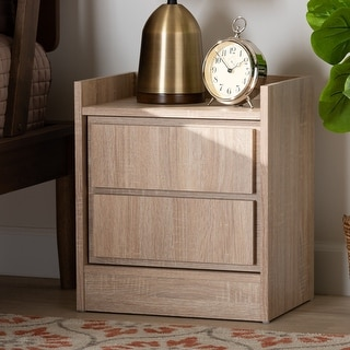Hale Modern and Contemporary Oak Finished Wood 2-Drawer Nightstand