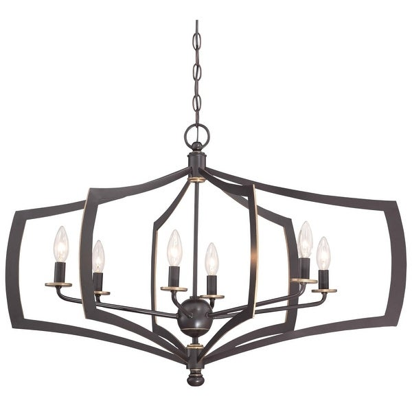 Minka Lavery 4376-579 6 Light Single Tier Chandeliers from the Middletown Collection - downton bronze with gold highlights
