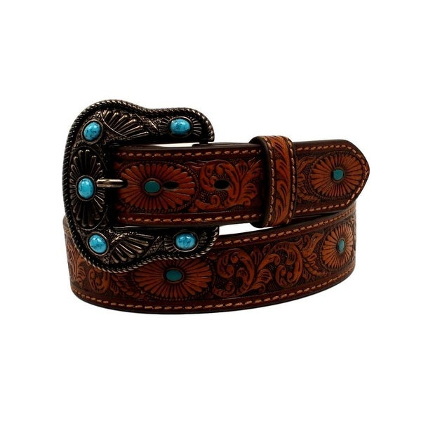 Nocona Western Belt Womens Leather Oval Starburst Scroll