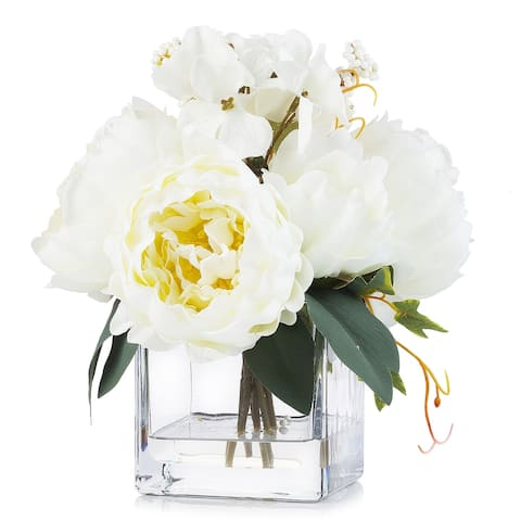 Enova Home Mixed Artificial Silk Peony Flower Arrangement in Clear Glass Vase With Faux Water For Home Office Decoration