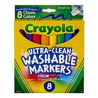 Crayola Non-Toxic Washable Marker Set, Broad Conical Tip, Assorted Classic Colors, Set of 8