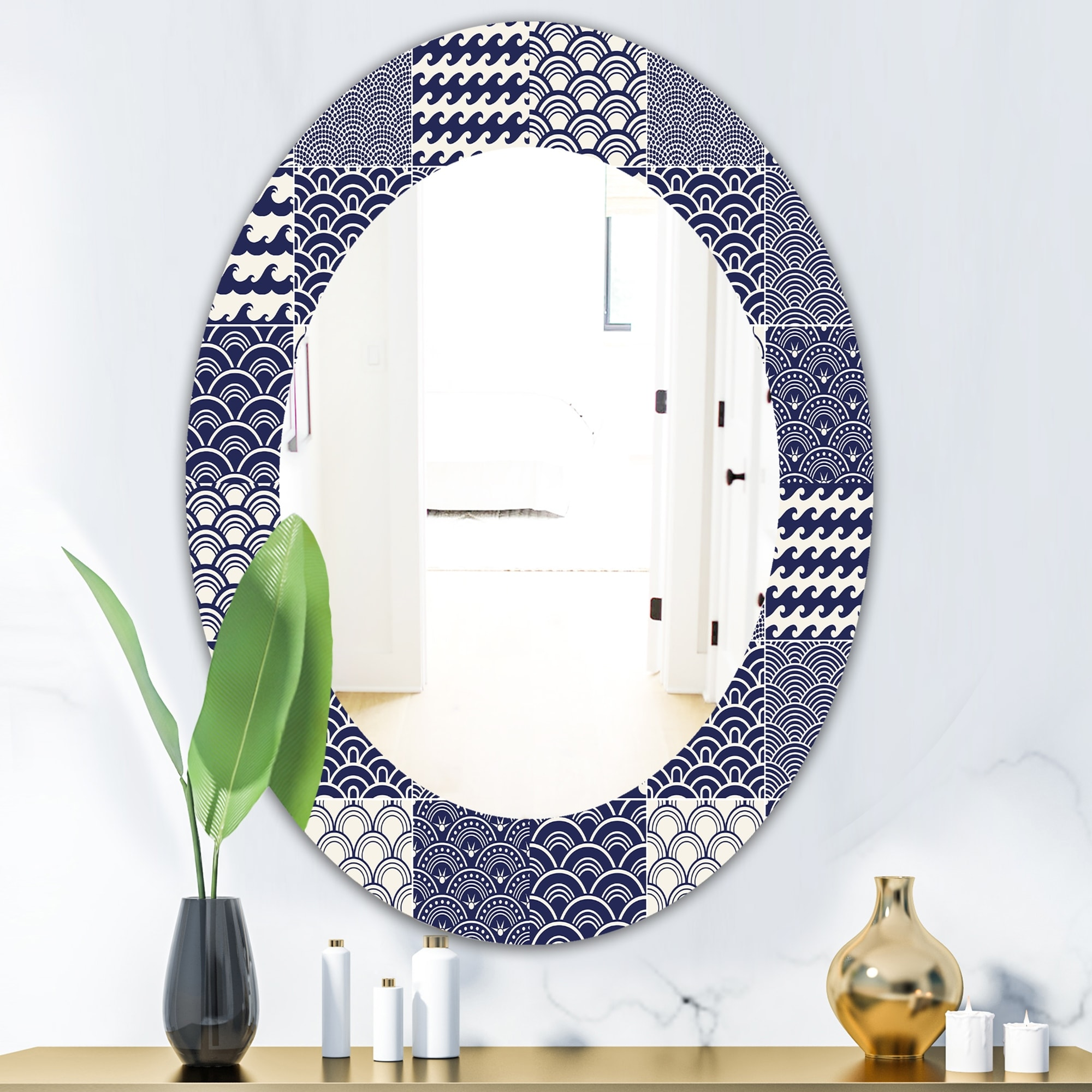 Designart Japanese Ocean Wave Pattern Traditional Mirror Oval Or Round Wall Mirror Blue On Sale Overstock 28558157