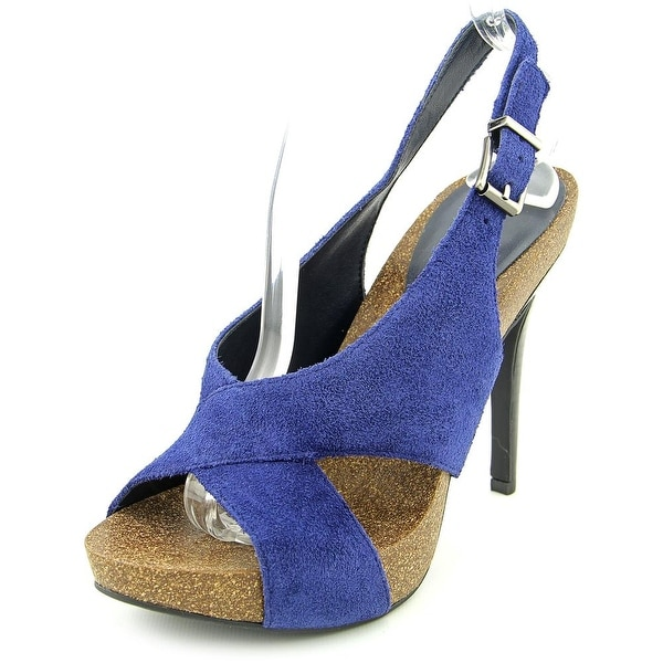 BCBGeneration Greer Women Open-Toe Suede Blue Slingback Heel