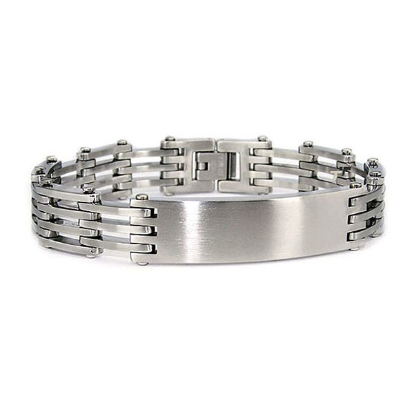 Stainless Steel ID Link Bracelet (13mm Wide) 8.25 Inches