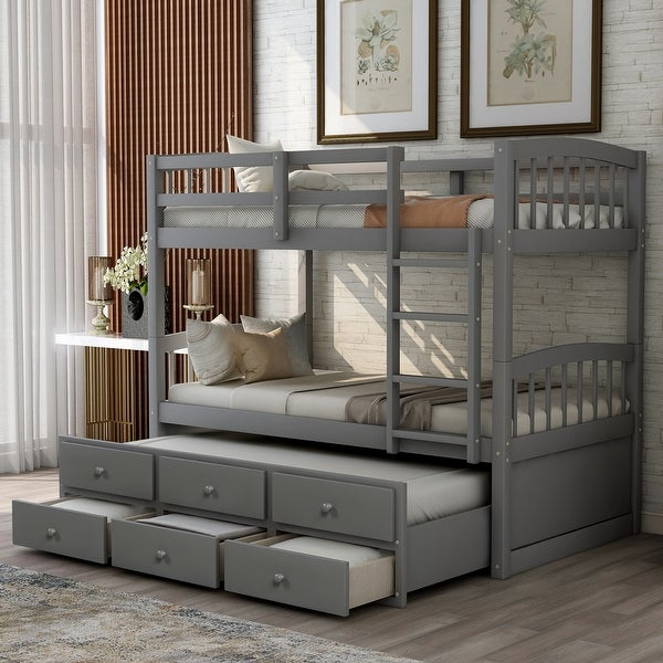 Nestfair Twin Bunk Bed with Ladder Safety Rail Twin Trundle Bed with 3 Drawers. Opens flyout.