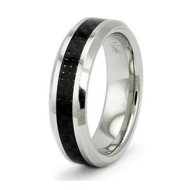 Cobalt Chrome Ring Wedding Band w/ Black Carbon Fiber Inlay