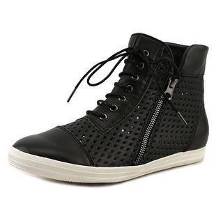 All Black Hi-Top Perf Women Round Toe Leather Black Sneakers