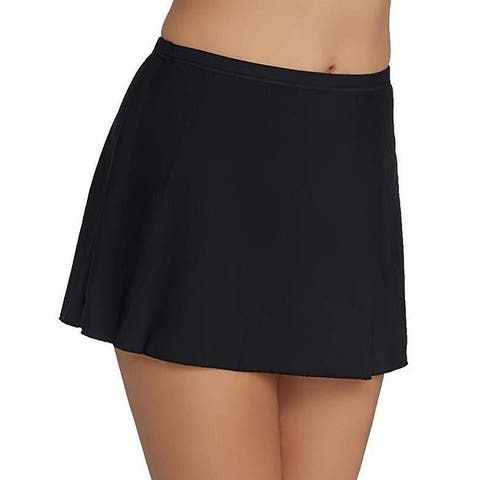 Miraclesuit Women's Miracle Solids Skirted High Waist Bikini Bottom Black Sz: 10