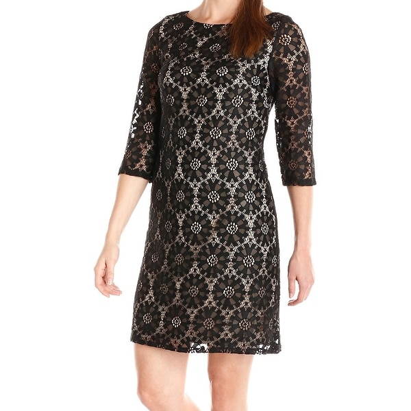0122616adac02 Shop Jessica Howard NEW Black Womens Size 16 Medallion Lace Shift ...