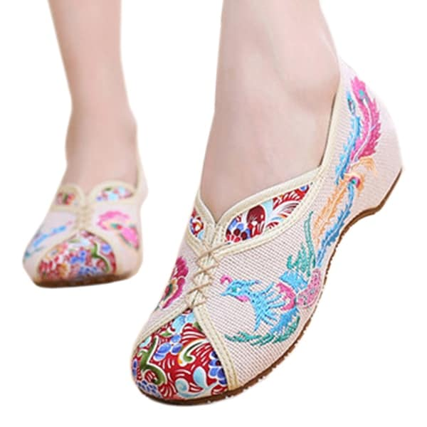 Women fashion Casual Shoes BalletCloth Embroidered Shoes Colorful Phoenix beige 34