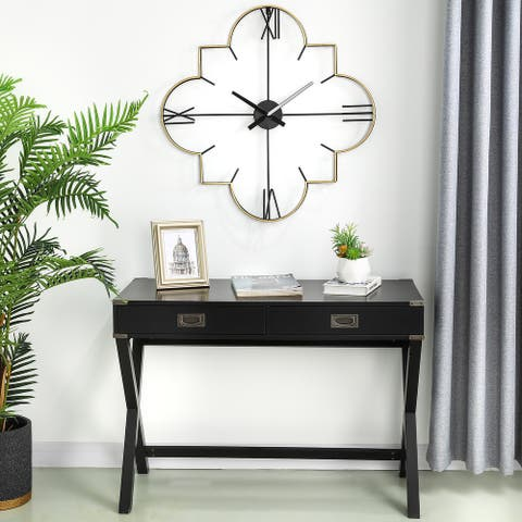 "Glitzhome 32""D Modern Metal Golden and Black Wall Clock"