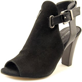 Marc Fisher Helene Women Open-Toe Leather Black Bootie