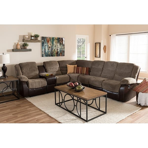 Shop Robinson 7pcs Taupe Fabric/Brown Faux Leather Two-Tone ...
