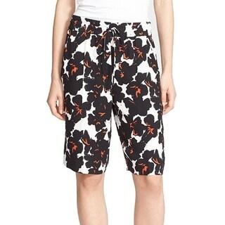 A.L.C. NEW Black White Women's Size 0 Floral Print Casual Shorts Silk
