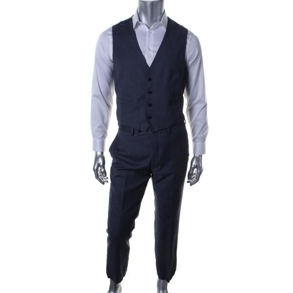 Calvin Klein Mens Two-Button Suit Wool Peak Collar