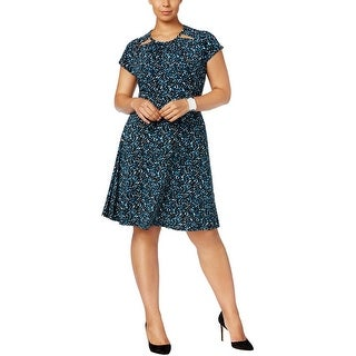Michael Kors Womens Plus Wear to Work Dress Printed Fit & Flare