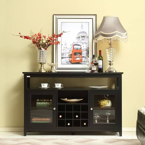 Farmhouse Wood Concise Buffet Table with Storage Shelf
