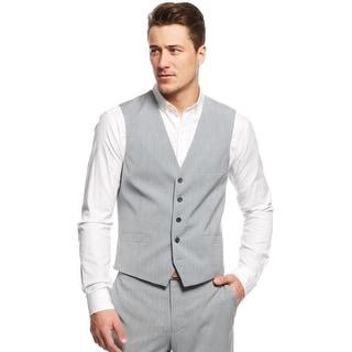 INC International Concepts Slim Fit Vest Light Grey X-Large Herringbone