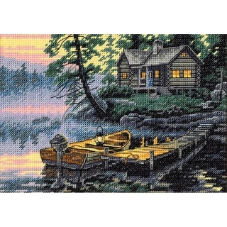 """Gold Petite Morning Lake Counted Cross Stitch Kit-7""""X5"""" 18 Count"""