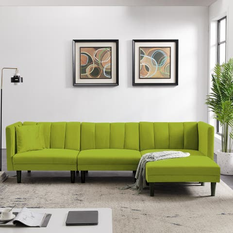 Reversible Sectional Sofa Sleeper With 2 Pillows Light Green