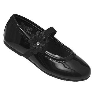 Little Girls Black Patent Glitter Flower Elastic Strap Casual Shoes
