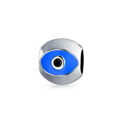 Blue Silver Evil Eye Spiritual Lucky Spacer Bead 925 Sterling Silver