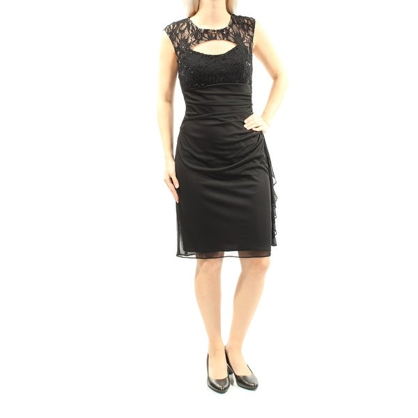 BETSY & ADAM Womens Black Lace Sequined Sleeveless Jewel Neck Above The Knee Sheath Cocktail Dress Size: 6