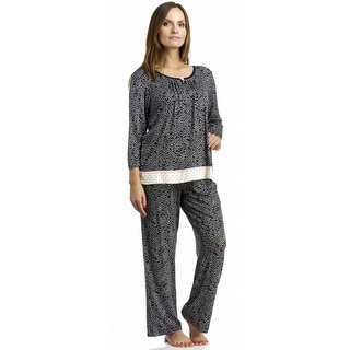 Rene Rofe Key To My Heart 3/4 Sleeve Long Pajama Set - Black Print