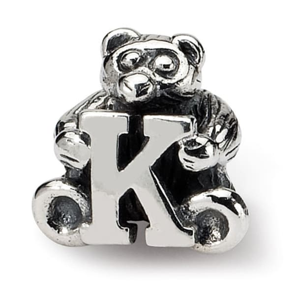 Sterling Silver Reflections Kids Letter K Bead (3.5mm Diameter Hole)