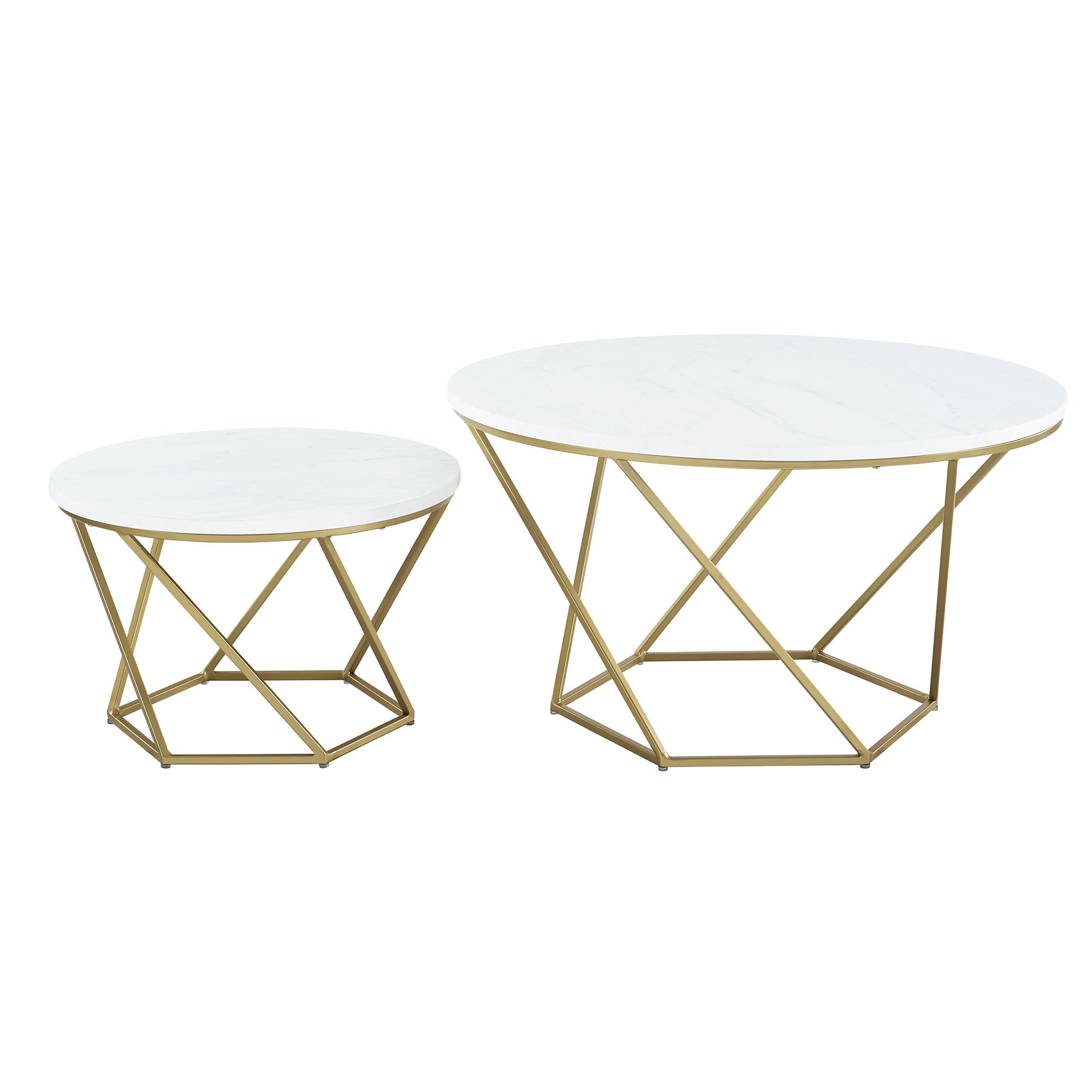 Delacora We Bdf28clrgm Two Piece Marble Top Metal Accent Table White With Gold