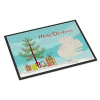 Silver Fantail Pigeon Christmas Indoor or Outdoor Mat, 24 x 36