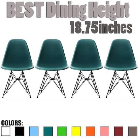Set of 4 Eiffel Dowel Plastic Shell Molded Side Dining Chaira Dark Black Wire Metal Chrome Base Retro Kitchen DSW Desk