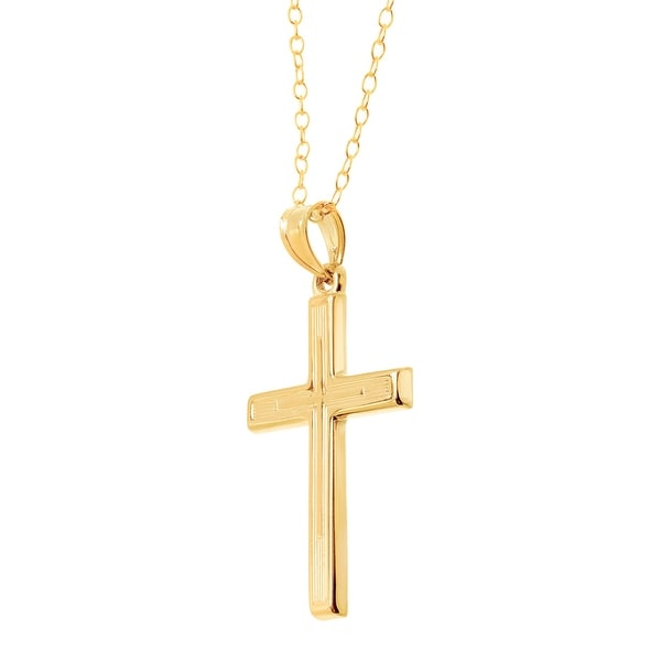 14kt Gold Filled Crucifix Pendant with 24 Gold Plated Stainless Steel Heavy Curb Chain.