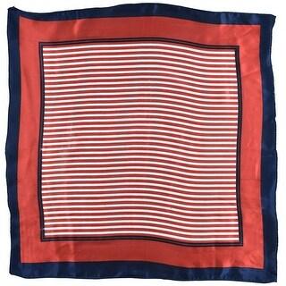 Lady Polyester Stripe Pattern Square Scarf Neckerchief Wrap Shawl 52cm x 51cm