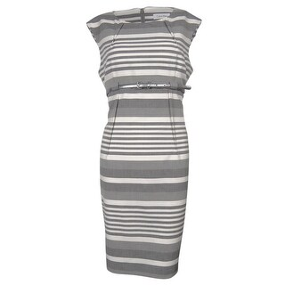 Calvin Klein Women's Striped Belted Sleeveless Sheath Dress