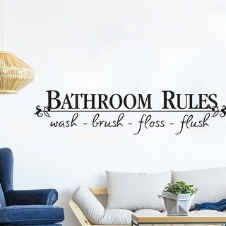 "Bathroom Rules Letter PVC Vinyl Sticker Decal 22.8""x5"""