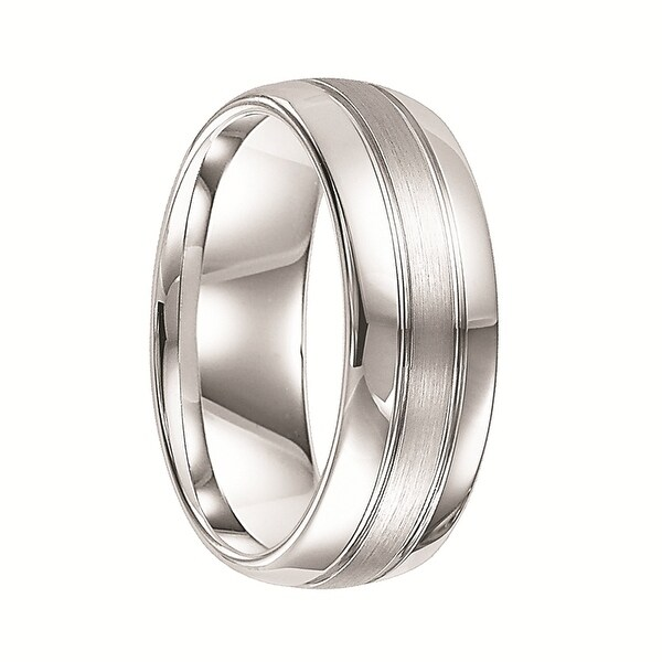 COLLIER Dual Grooved Round White Tungsten Ring with Brushed Center & Polished Edges by Triton Rings - 8 mm