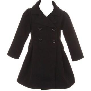 Flower Girls Winter Clothes Long Coat Outerwear Black
