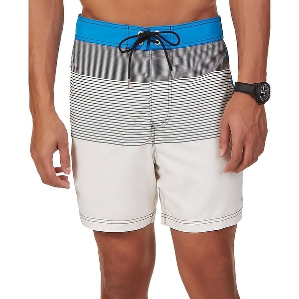 Nautica Mens Graphic Striped Swim Trunks