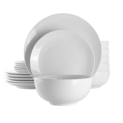 Elama Luna 18 Piece Porcelain Dinnerware Set in White